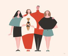 Family on behance cute illustration, family illustration, graphic design illustration, digital illustration,