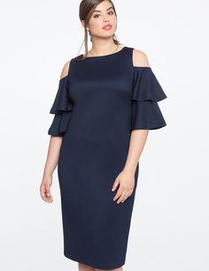 Flounce Sleeve Cold Shoulder Dress NAVY