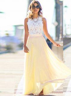 Sleeveless Lace Chiffon Evening Dress OASAP.com