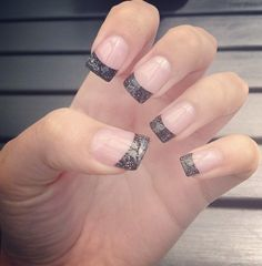 black sparkly french tip nails - Google Search