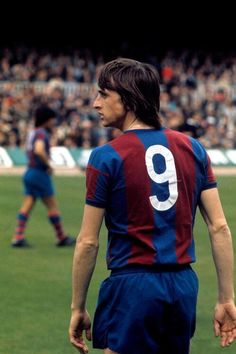 Johan Cruyff, born 25 April 1947, Dutch attacking midfielder or forward, Ajax (1964-1973), FC Barcelona (1973-1978), Los Angeles Aztecs (1979-1980), Washington Diplomats (1980-1981), Levante (1981), Ajax (1981–1983), Feyenoord (1983-1984). He won the Ballon d'Or three times (1971, 1973, 1974), which was a record jointly held with Michel Platini, Marco van Basten, and Lionel Messi until Messi won his fourth award in 2012. Cruyff was one of the most famous exponents of the football philosophy…