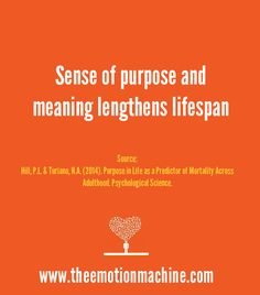 Sense of purpose and meaning lengthens lifespan. It's a lot easier to live longer when you have something to live for.