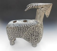 Modern+Porcelain+Carved+Ram+Goat+Sculpture+Vase+by+shoshonasnow,+$120.00