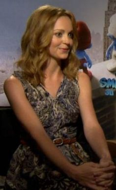 Who made Jayma Mays' print dress and braided brown belt that she wore in Los Angeles? Dress – Tibi  Belt – Joe's