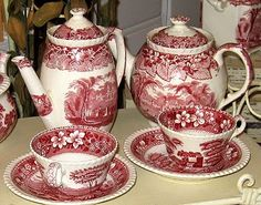 Postmark: Vintages of Los Gatos: Vintage English Red Transferware
