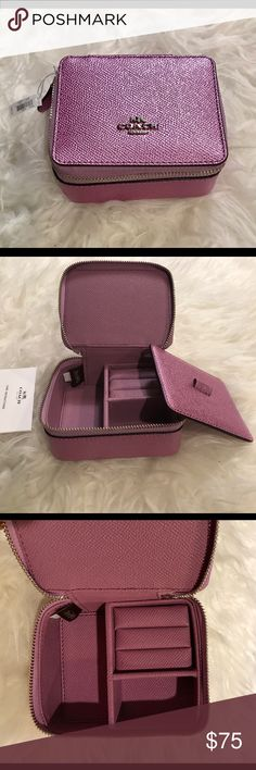 "Coach accessory/jewelry box NWT. Coach accessory/jewelry box in a gorgeous sparkling pink. Zip around closure with leather interior. Great for travel! Brand new/no defects. 4""L x 3.5"" W Coach Bags"