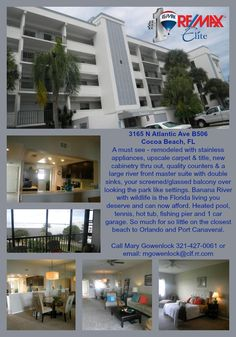 2 bedroom 2 bath, over 1,300 sq ft. recently remolded top floor penthouse condo with water view from every room. Walk to everything including the ocean in Cocoa Beach FL.
