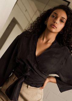 Mariah wrap shirt (black habotai)