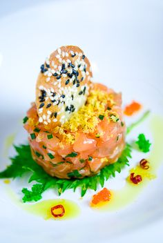 Taku River Salmon Tartare with Black & White Sesame Tuile, Karasumi and Shiso