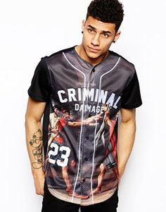 Criminal Damage Baseball Jersey with Roman Print