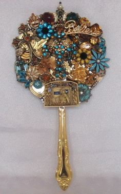 Gloria In Excelsis Deo OOAK Vintage Jewelry Art Hand Mirror. $102.00, via Etsy.