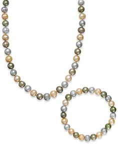Multi-Color Cultured Freshwater Pearl Necklace and Stretch Bracelet Set in Sterling Silver (8mm) - Jewelry & Watches - Macy's