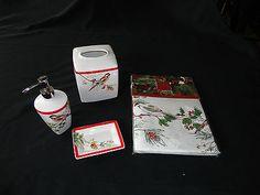 Lenox Winter Song Bathroom SET Shower Curtain Tissue BOX Lotion Soap Dish NEW | eBay