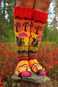 Ravelry: Under The Umbrella pattern by Beyond The Loops Cable Knitting, Knitting Socks, Tree Mushrooms, Autumn Theme, Needles Sizes, Autumn Leaves, Squirrel, Ravelry, Rubber Rain Boots