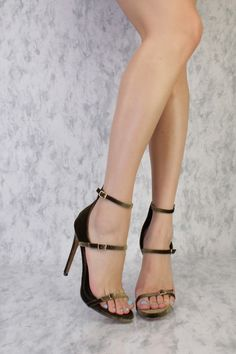 Olive Open Toe Strappy High Polish Buckle Detailing Single Sole High Heel Velvet