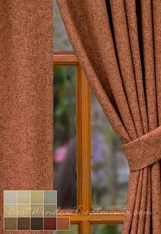 "Paprika (burnt orange, rust ) curtain panels with a wool linen blend with grommets, back-tabs and lining/interlining options : 84"", 96"" standard size and extra long 108"" inch length or 120"" inch curtains, scarf swag, fabric by the yard for custom window treatments"