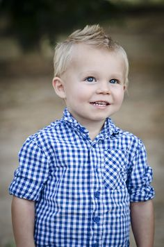 Little B Man by J Ashton Photography! Blue Gingham Shirt! Killer smile! Faux hawk - Mohawk! Love His Bright Blue Eyes and Blonde Hair! Little boys are the best!
