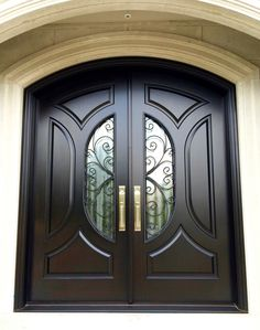 This spectacular mahogany double door showcases Chinchilla glass with a gorgeous custom wrought iron design! The stunning Balmoral designed entrance is finished with a velvety Brown Mahogany stain, and features a hardy Wooden Front Door Design, Double Door Design, Door Gate Design, Door Design Interior, Wood Front Doors, Main Door Design, Interior Doors, Custom Wood Doors, Wooden Doors