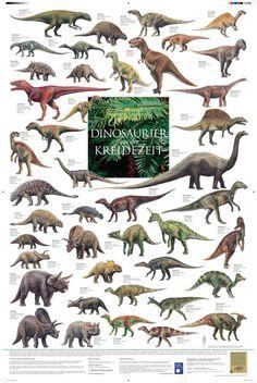 """Poster """"Dinosaurier aus der Kreidezeit"""""""