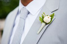 Joe the #groom is looking great in a gray in a Shabby Chic Creekside #Wedding