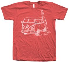 Men Unisex Vintage Van Surf  T Shirt Custom Hand by Couthclothing, $18.00