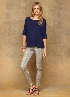 Cool grey printed jeans
