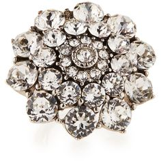 Oscar de la Renta Round Crystal Cocktail Ring ($295) ❤ liked on Polyvore featuring jewelry, rings, crystal, crystal stone jewelry, round ring, crystal cocktail ring, band rings and band jewelry