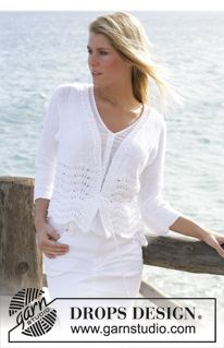 """DROPS 101-5 - DROPS cardigan knitted in wave pattern with """"Bomull-Lin"""". Size S - XXL - Free pattern by DROPS Design"""