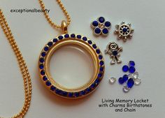 Living Memory Locket Rhinestone Floating Charms Sapphire Birthstones Necklace #LivingMemoryCharmGlassLocketMagneticClosures