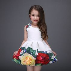 2017 Princess Girls Floral Dresses Summer Baby girl Rose Flower Pattern Dress