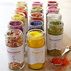 Williams Sonoma Natural Sprinkles. Dye free. Colours derived from natural plant extracts.