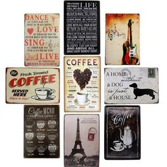 Vintage Metal Tin Sign Coffee Tower Sign Retro Plaque Poster Bar Pub Club Wall Tavern Garage Home Decor 10 Styles