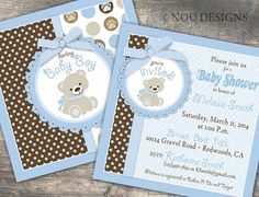 Adorable Teddy Bear Baby Shower or Baptism Invitation Card- Printable File Baby Party, Baby Shower Parties, Baby Shower Themes, Shower Ideas, Teddy Bear Party, Teddy Bear Baby Shower, Idee Baby Shower, Baby Boy Shower, Envelopes