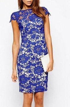 Vestido renda lace azul e branco