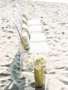 ghost chairs are light and airy and fit right in for a ceremony by the sea #beach, #chair  Photography: Clary Pfeiffer - www.claryphoto.com  Read More: http://www.stylemepretty.com/2014/03/07/destination-wedding-in-puerto-vallarta-mexico/