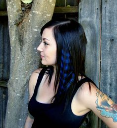 blue feather human hair extension, hand painted, feather, hair feather, hair extension, feathered extension, human hair, hair clip, clip in  on Etsy, $16.00
