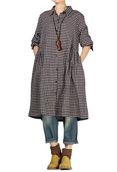 785041e86f8 Mordenmiss Womens Check Plaid A-Line Flare Pleated Shirt Dress with Pockets  #trends #clothing #fashion #america #us