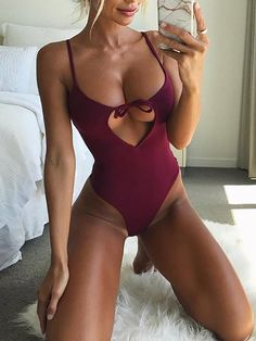 ivrose / Spaghetti Strap Cutout One Piece Swimwear Sexy Bikini, Mode Ootd, Leotard Fashion, Mädchen In Bikinis, Bikini Swimwear, One Piece Swimwear, Sexy Hot Girls, Leotards, Bathing Suits