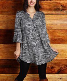 Charcoal Melange Bell-Sleeve Tunic - Plus #zulily #zulilyfinds