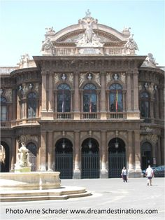 Bellini Theater Catania, Sicily.  In the Piazza Bellini stands the Teatro Massimo Bellini - one of the most beautiful opera houses in Italy. It was designed by the architect Andrea Scala in the Neo-Renaissance style.
