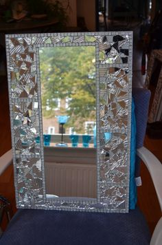 One of a kind collage/mosaic/mirror. A collage base on plywood with clear glass mosaic over. Mirror Mosaic, Mosaic Diy, Mosaic Crafts, Mosaic Projects, Mirror Art, Diy Mirror, Mosaic Wall, Mosaic Glass, Glass Art