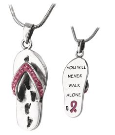 Never Walk Alone Pink Ribbon Flip Flop Sterling Necklace - Every Purchase Funds Mammograms for Women in Need.