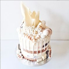 An all white themed Baptism for Yianni. Honeycomb Cake, Special Birthday Cakes, Drizzle Cake, Classic Cake, Rustic Cake, Colorful Cakes, Fondant, Elegant Cakes, Drip Cakes