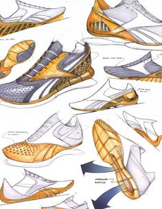 "Reebok ""The Bender"" Concept – Jon Fontaine Sketch Design, My Design, Sneakers Sketch, Shoe Sketches, Industrial Design Sketch, Hand Sketch, Sketch Inspiration, N21, Shoe Art"
