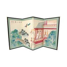 3ft Tall Lovers View Asian Decorative Folding Screen