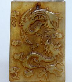 Chinese Old Jade Two Side Hand Carved Dragon Phoenix (LongFengChengXiang) QZ770