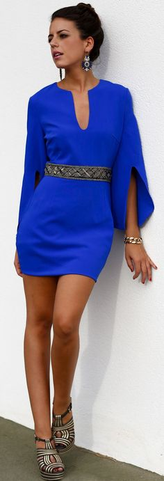 Klein Blue Split Sleeve Belted Bodycon Mini Dress