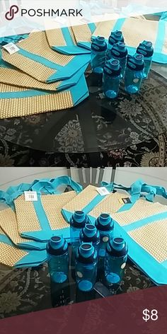 ?? TOTE & WATER BOTTLE NWT BLUE TOTE BAG WITH MATCHING WATER BOTTLE. $8 FOR EACH SET. Bags Totes
