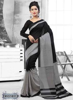 Engrossing Black Coloured Bhagalpuri silk casual Saree