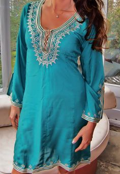 Emerald Green Moroccan Tunic Embroidered by MaisonMarrakech
